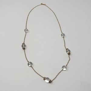 J Crew Gold Tone Glass Bead Station Necklace Long